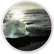 Diamond On Diamond Beach Black Sand Waves Clouds Iceland 2 2162018 1985.jpg Round Beach Towel