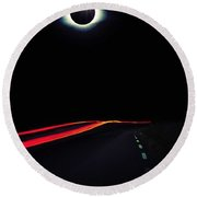 Diamond Ring Solar Eclips Over Route 66 By Adam Asar 2 Round Beach Towel