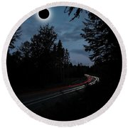 Diamond Ring Solar Eclips Over Route 66 By Adam Asar 3 Round Beach Towel