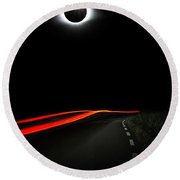 Diamond Ring Solar Eclips Over Route 66 By Adam Asar Round Beach Towel