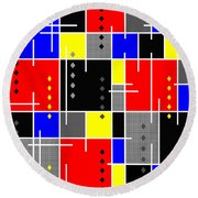Diamonds And De Stijl Round Beach Towel by Tara Hutton