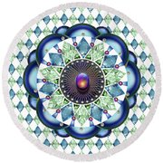 Diamonds And Pearls Round Beach Towel