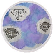 Diamonds In The Sky  Round Beach Towel