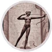 Diana - Goddess Of Hunt Round Beach Towel