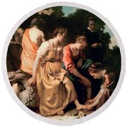 Diana And Her Companions Round Beach Towel by Jan Vermeer