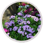 Dianthus Flower Bed Round Beach Towel by Corey Ford