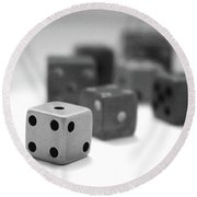 Dice 1- Black And White Photo By Linda Woods Round Beach Towel by Linda Woods