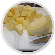 Dicing Potatoes I Round Beach Towel