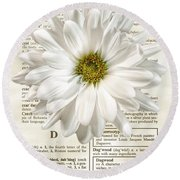 Dictionary Daisy Round Beach Towel
