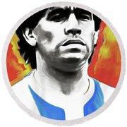 Diego Maradona By Nixo Round Beach Towel