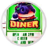 Digger's Diner Round Beach Towel