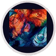 Digital Abstract 2 Round Beach Towel