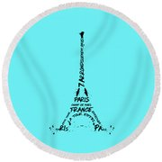 Digital-art Eiffel Tower Round Beach Towel