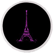 Digital-art Eiffel Tower Pink Round Beach Towel