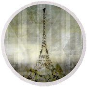 Digital-art Paris Eiffel Tower Geometric Mix No.1 Round Beach Towel by Melanie Viola