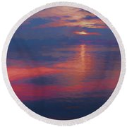 digital art   SUNSET SEASIDE Round Beach Towel