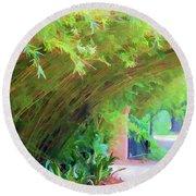 Digital Bamboo Rip Van Winkle Gardens  Round Beach Towel