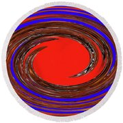 Digital Blue Red Plate Special Round Beach Towel