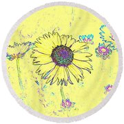 Digital Drawing 1 Round Beach Towel