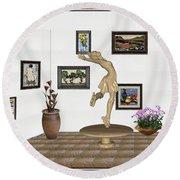 digital exhibition _ A sculpture of a dancing girl 9 Round Beach Towel