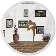 digital exhibition _ Statue of girl 42 Round Beach Towel