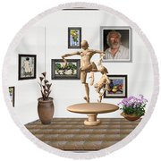 digital exhibition _ Statue of  Mother and child zombies Round Beach Towel