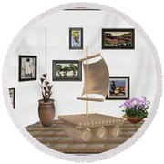 digital exhibition _ Statue raft with sails 3 Round Beach Towel