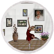 Digital Exhibition _dancing Girl 221 Round Beach Towel