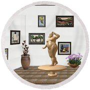 digital exhibition  Statue 23 of posing lady  Round Beach Towel