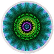 Digital Kaleidoscope Mandala 50 Round Beach Towel