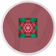 Digital Kaleidoscope Red-green-white 8 Round Beach Towel