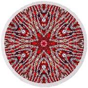 Digital Kaleidoscope Red-white 4 Round Beach Towel