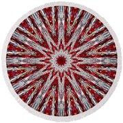 Digital Kaleidoscope Red-white 7 Round Beach Towel