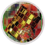 Digital Mosaic Round Beach Towel