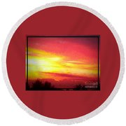 Digital Oil Painting Of Sunset Round Beach Towel