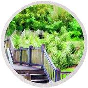 Digital Paint Landscape Jefferson Island  Round Beach Towel