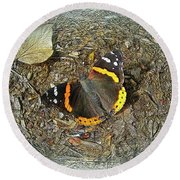 Digital Red Admiral Butterfly - Vanessa Atalanta Round Beach Towel
