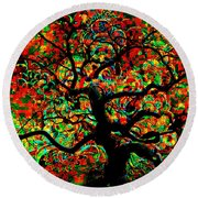 Digital Tree Impressionism Pixela Round Beach Towel