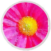 Digital Watercolour Of A Pink Daisy Pollen Flower Round Beach Towel
