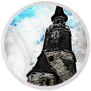 Dinan Clock Tower Round Beach Towel