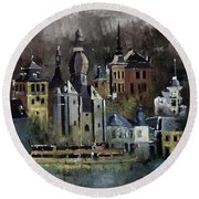Dinant Watercolor Round Beach Towel
