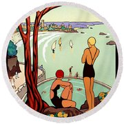 Dinard, French Riviera, Two Swimmers  Round Beach Towel