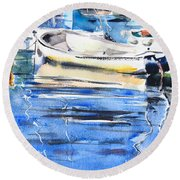 Dinghies At High Tide Round Beach Towel