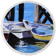 Dinghies At The Dock Round Beach Towel