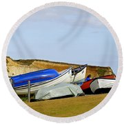 Dinghy Park At Freshwater Bay Round Beach Towel