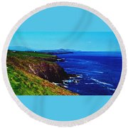 Dingle Coastline Near Fahan Ireland Round Beach Towel
