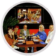 Dinner At Th Algonquin Hotel Round Beach Towel