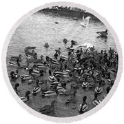 Dinner Is Served - Black And White Round Beach Towel