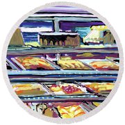 Dinner Pastry Case Round Beach Towel