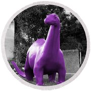 Dino Selective Coloring In Ultra Violet Purple Photography By Colleen Round Beach Towel